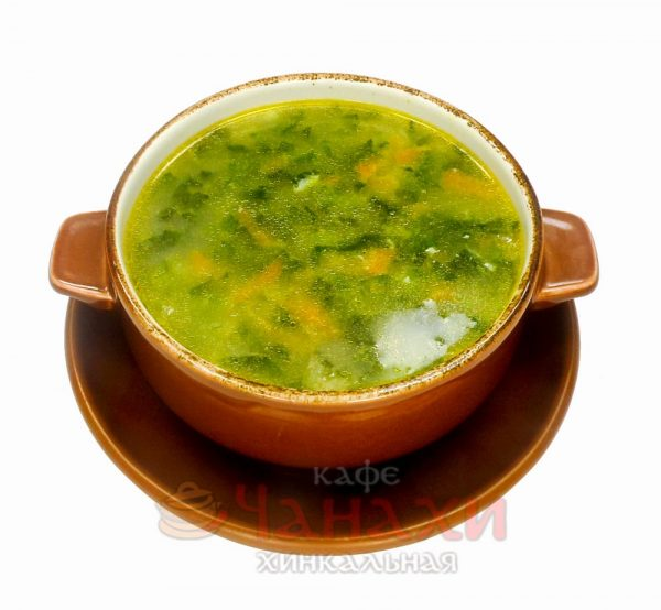 Суп говяжий со шпинатом