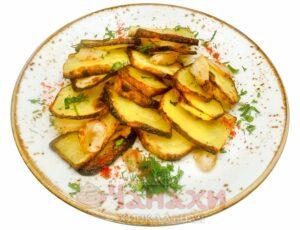 Картофель с курдюком на углях