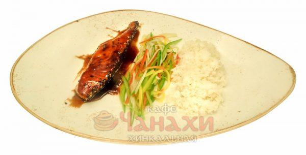 Семга в соусе терияки с рисом